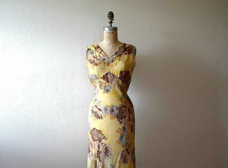 1930s floral chiffon dress . vintage 30s gown - image 1