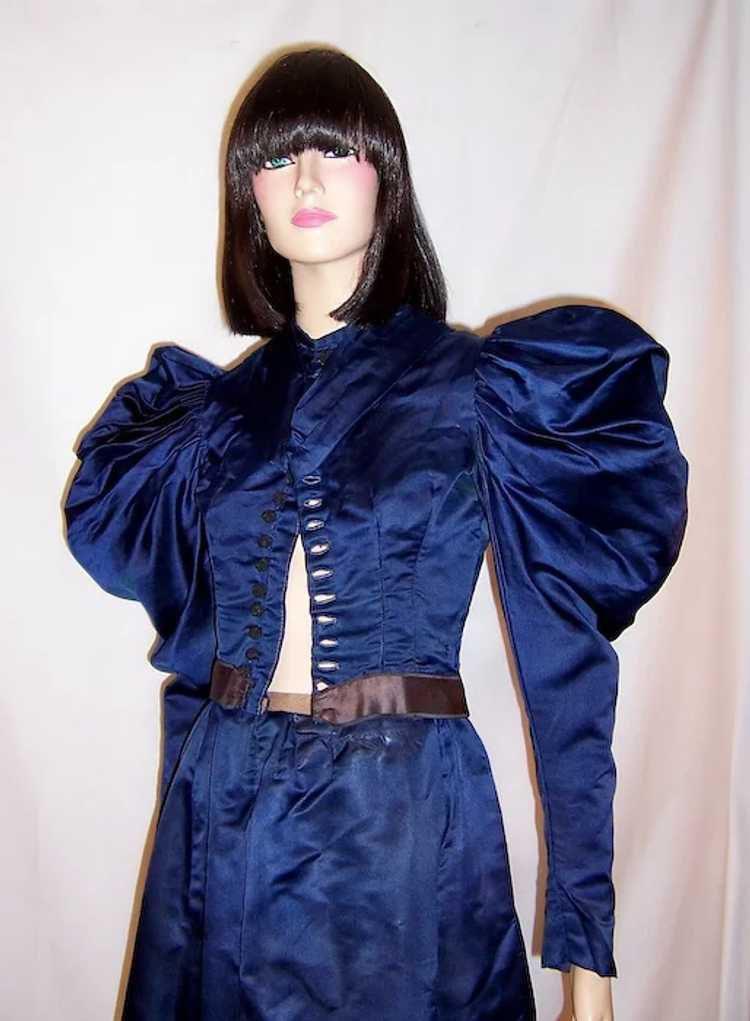 Vivid Navy Victorian (1890's The Gilded Age) Silk… - image 6