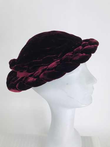 1930s Burgundy Velvet Juliet Cap Hat Vintage