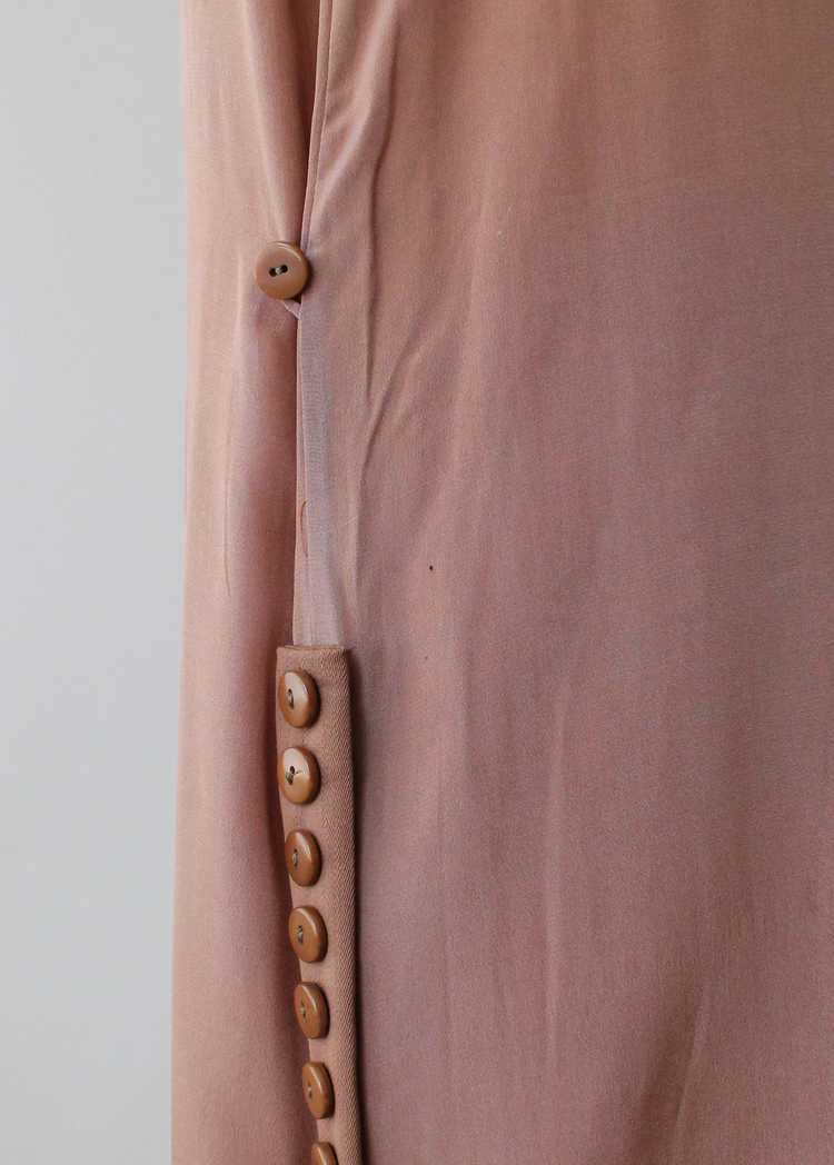 Vintage 1920s Brown Silk Day Dress with Duster Co… - image 6