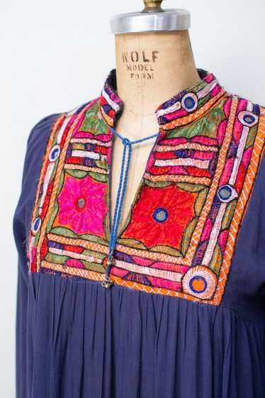 1970s Embroidered Indian Cotton Dress