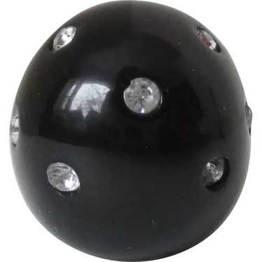 Black Lucite Clear Rhinestone Domed Ring Vintage