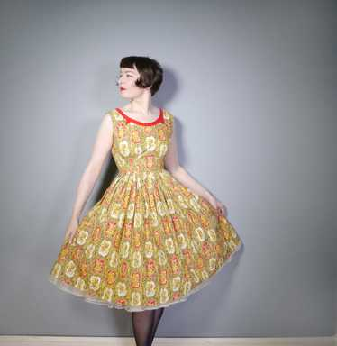 VIVID FLORAL BROWN YELLOW AND RED 50s FULL SKIRTED