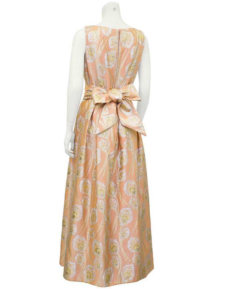 Ceil Chapman Pink and Metallic Brocade Gown - image 2