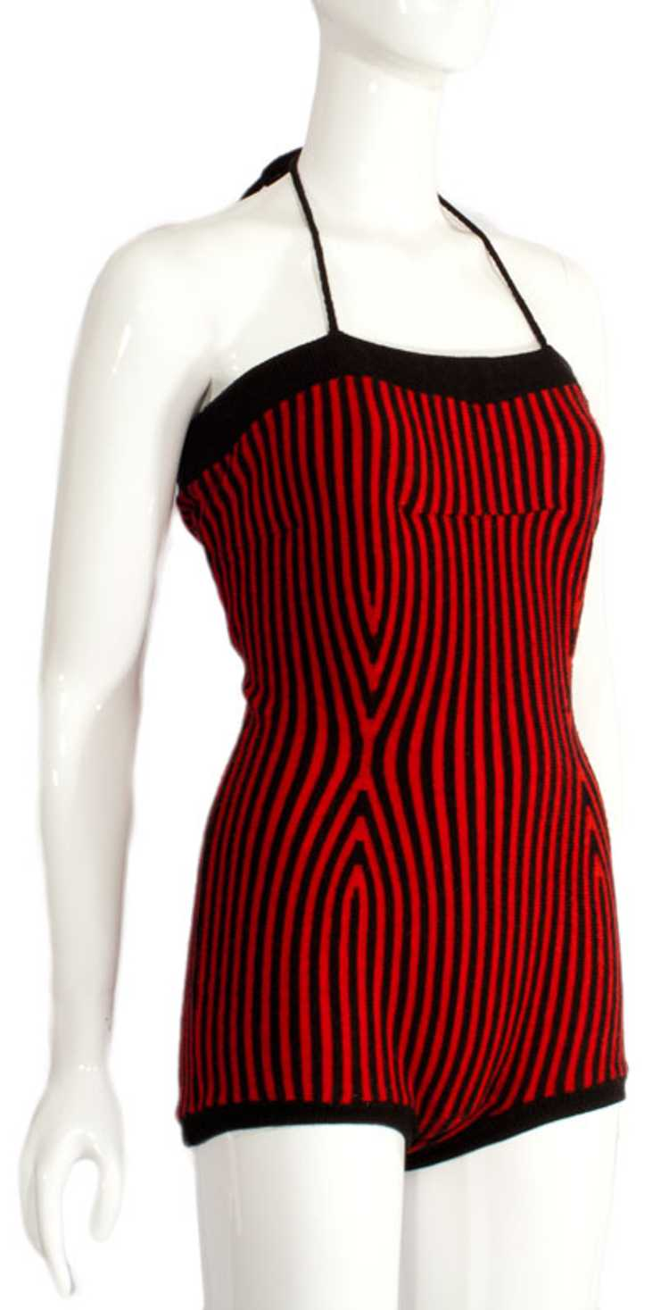 1940s Knit Maillot Swimsuit - image 2