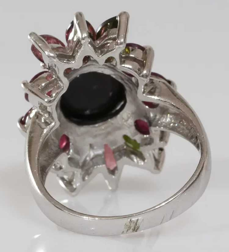 Opal Ruby Cocktail Ring | Tourmaline Sterling Sil… - image 4
