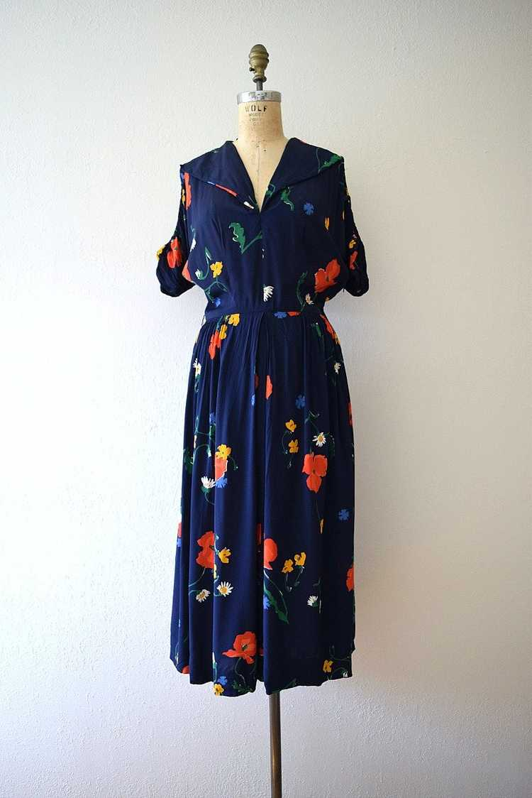 1940s rayon dress . vintage 40s floral print dress - image 2