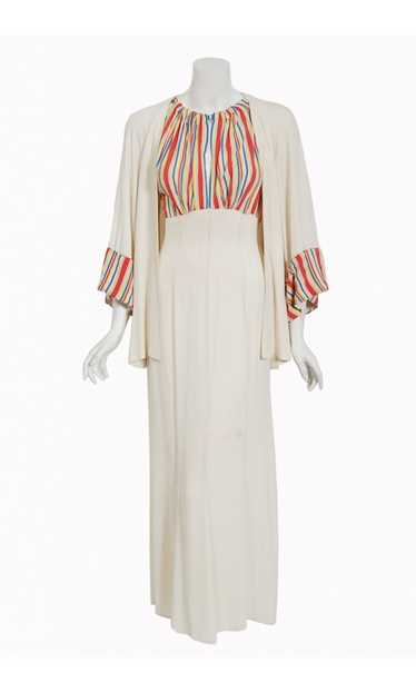 1930's Cartwright Ivory Striped Silk Rayon Cut-Out