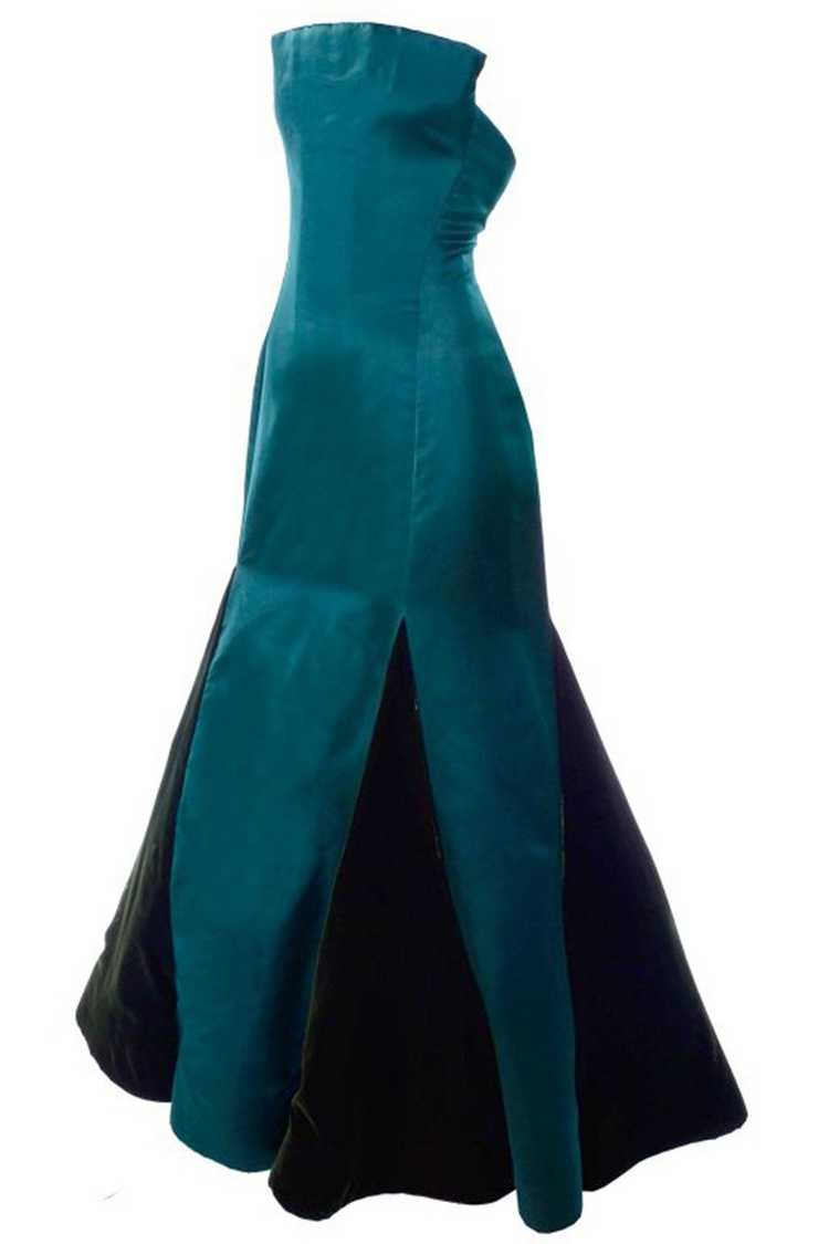 Arnold Scaasi Strapless Green Evening Gown W/ Vel… - image 1