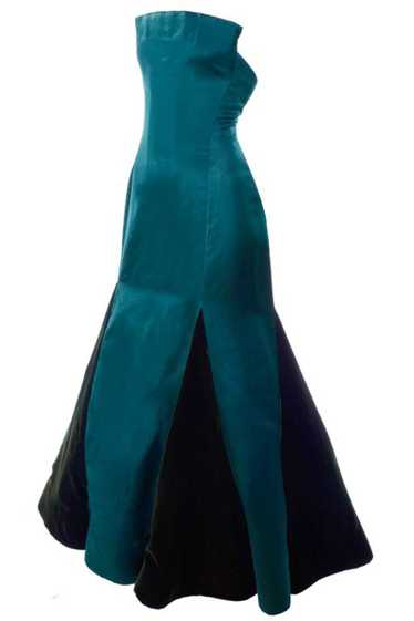 Arnold Scaasi Strapless Green Evening Gown W/ Velv