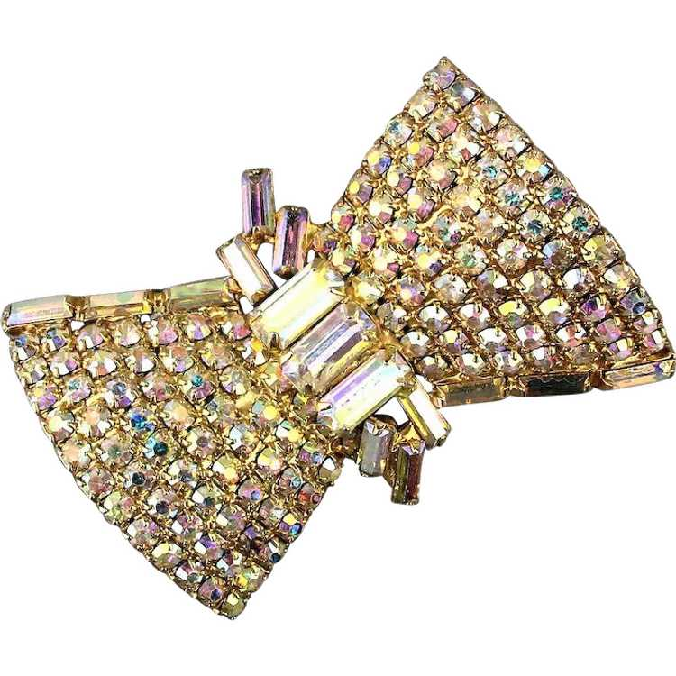 Vintage Aurora Borealis Crystal Beads Brooch  Pin 1950s with AB Crystal Faceted Beads 1 34 Brilliant Brooch