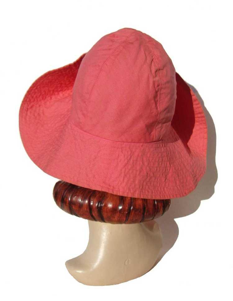 Vintage 50s Pink Beach Hat Ladies Floppy Hat - Bl… - image 4