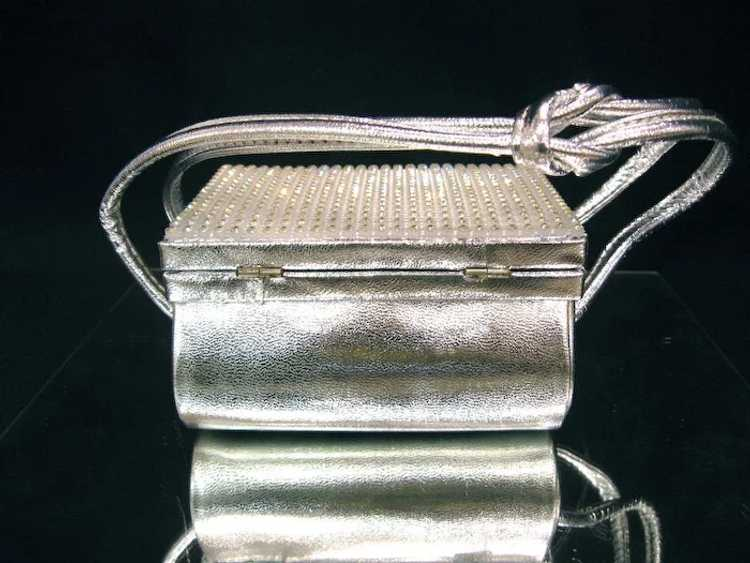 Arnold Scaasi Silver Studded Evening Bag - image 6