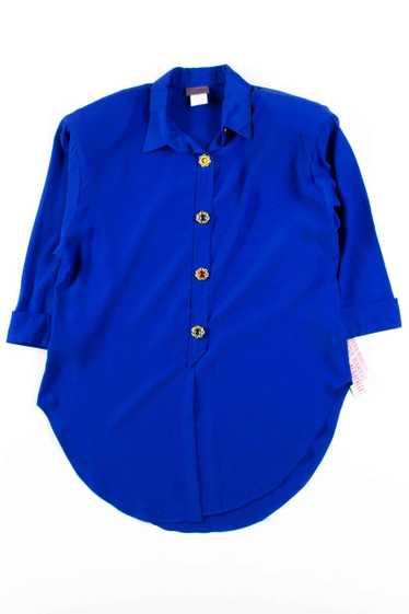 Blue 1980s Tina Barrie Blouse