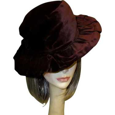 Antique Velvet Hat, Belle Epoque, Edwardian Wide B