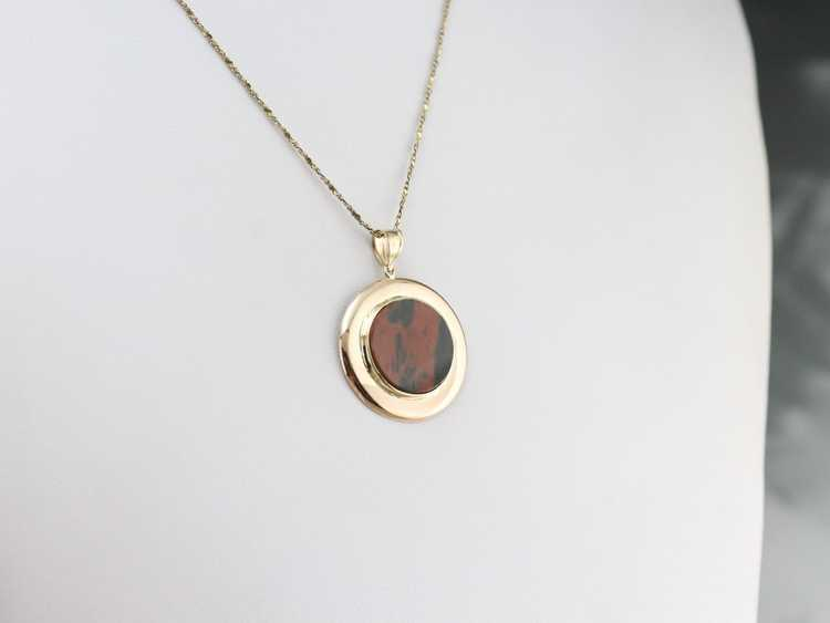 Gold Mid Century Jasper Pendant - image 7
