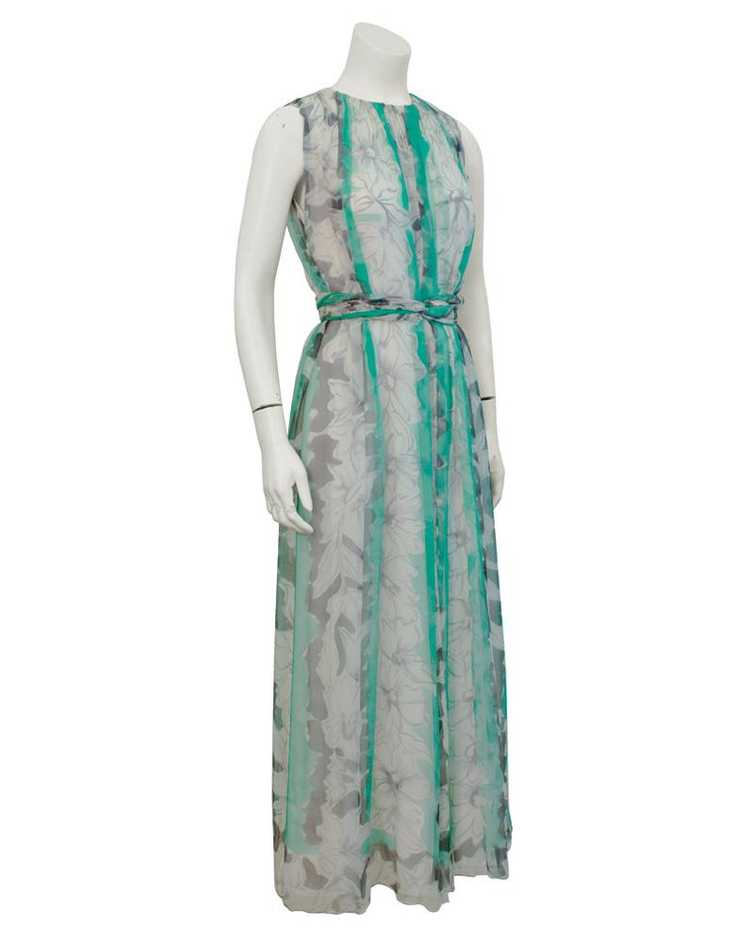 Pauline Trigere Green and Grey Chiffon gown - image 3