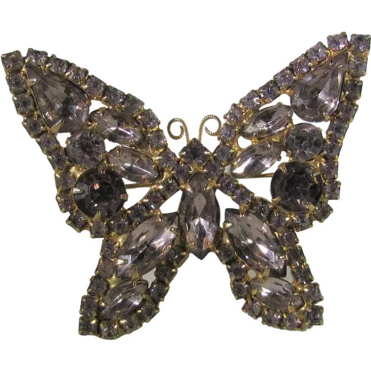 Vintage Dusty Rose Crystal Butterfly - image 1