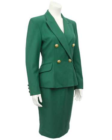 Moschino Green Wool Skirt Suit
