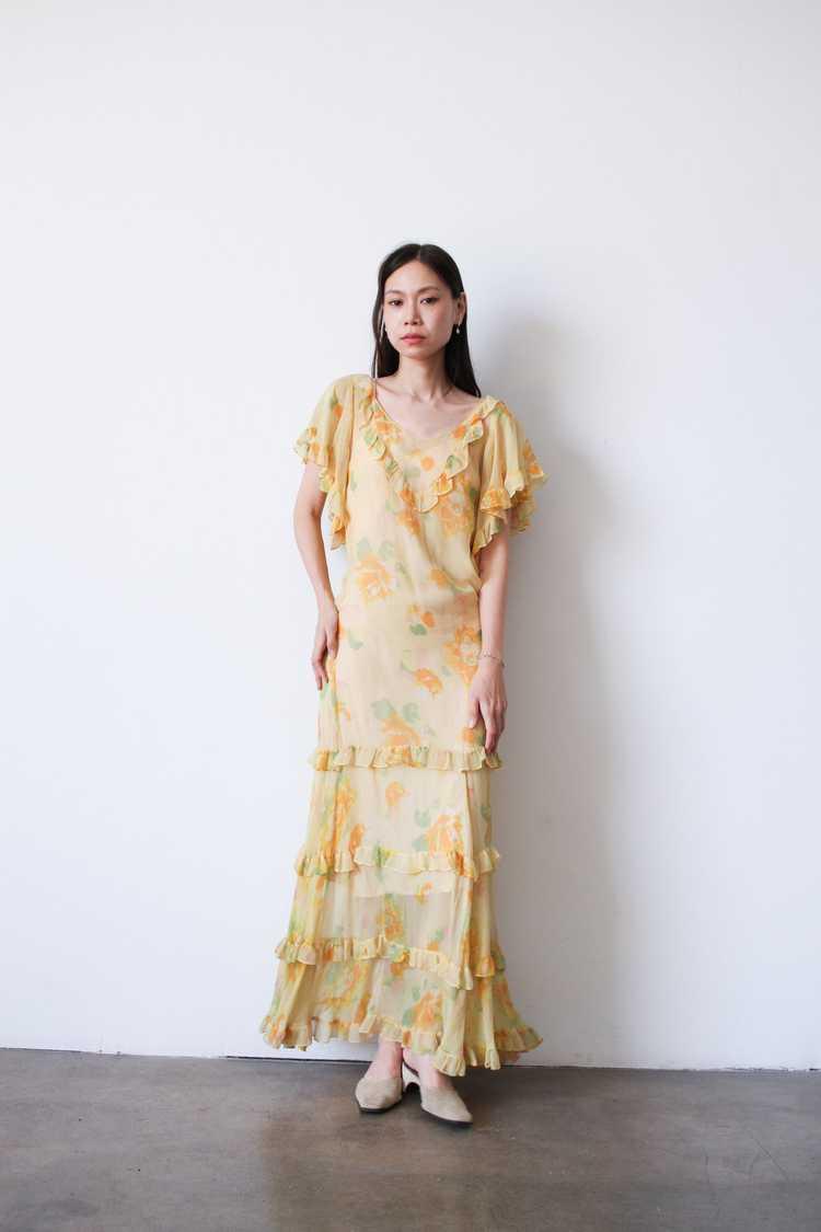 1930s Chiffon Silk Yellow Floral Dress w/ Bolero - image 5