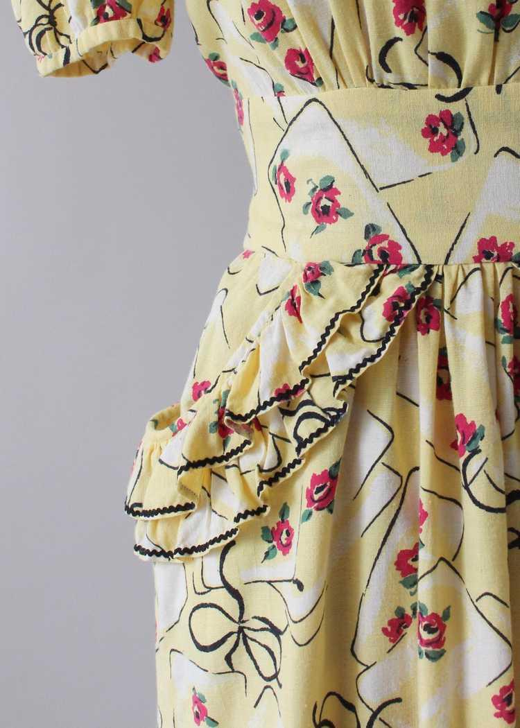 Vintage 1930s Yellow Novelty Print Cotton Dress - image 5