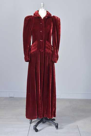 1930s 40s Merlot Velvet Maxi Vintage Evening Dress