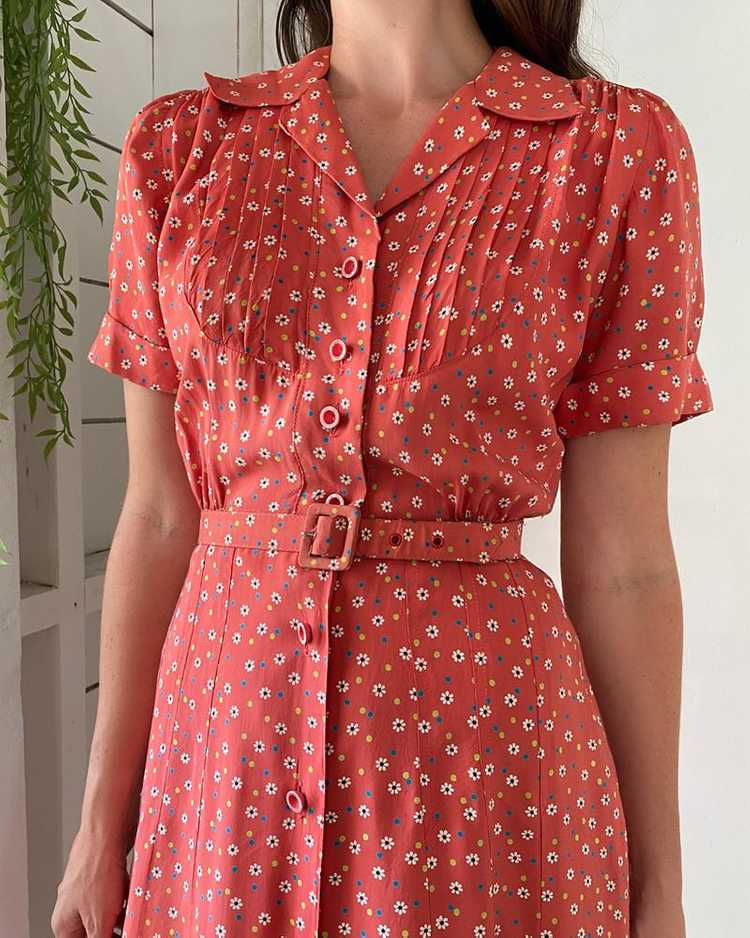 40s Floral Rayon Dress - image 2