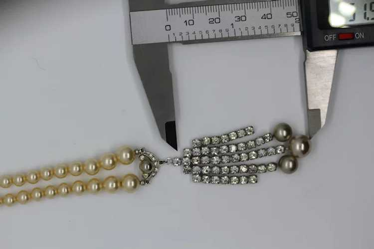 Marvella Faux Pearl and Rhinestone Necklace - image 11