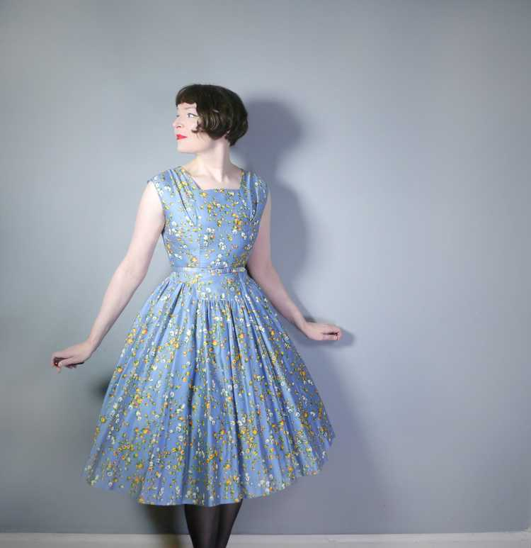50s BLUE FULL SKIRTED DRESS BY RODNEY IN RED AND … - image 3