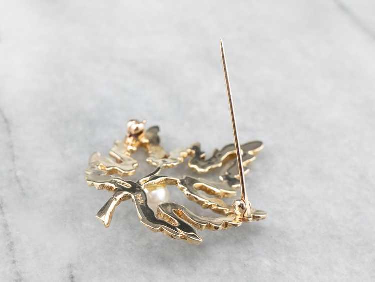 Vintage Gold and Pearl Maple Leaf Brooch - image 6