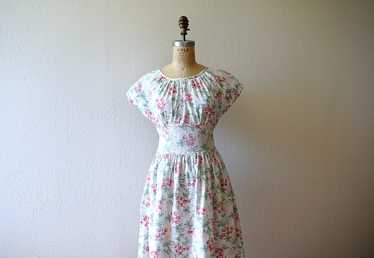 1940s cherry print dress . vintage 40s novelty pri