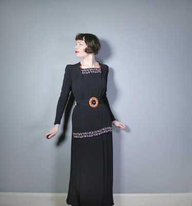 30s 40s BLACK CREPE EVENING DRESS WITH BEADED PEPL