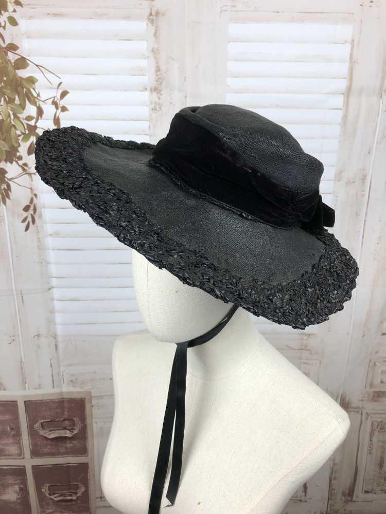 Original 1930s 30s Black Straw And Velvet Wide Br… - image 13