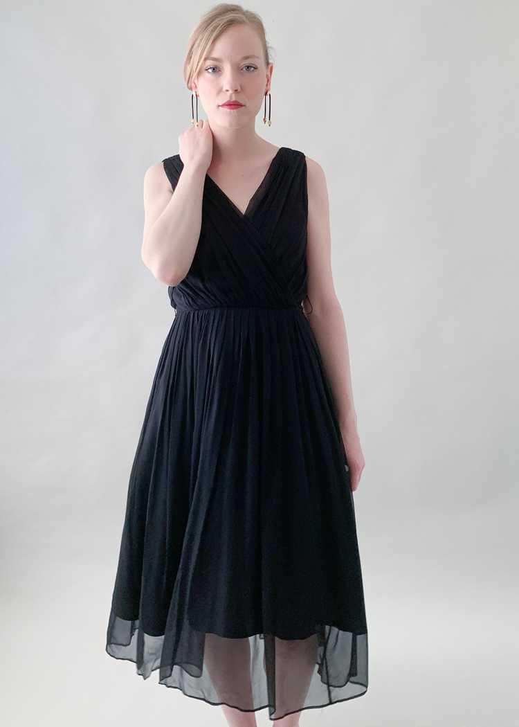Vintage 1950s Gigi Young Black Chiffon Dress - image 3