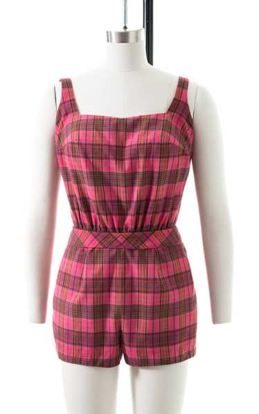 1950s Pink Plaid Cotton Romper | small