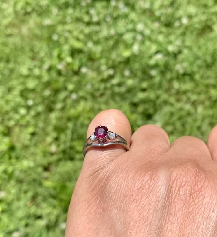 18k Gold Ruby Diamond Solitaire Ring - image 6