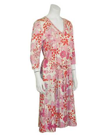 Bessi Pink Printed Cotton Floral Day Dress