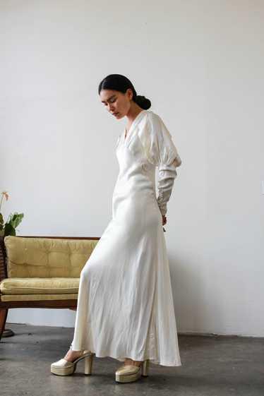 1930s Satin Cream Puff Sleeve Bias Cut Gown