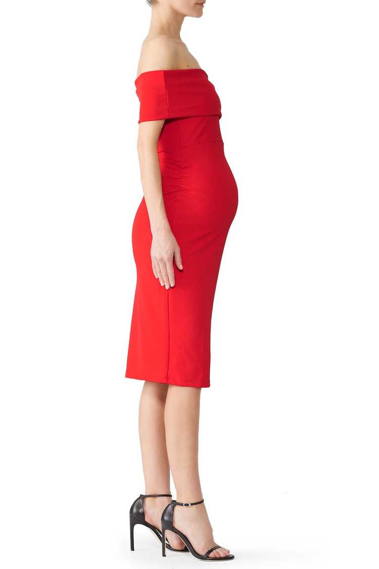 soon maternity Red Claire Maternity Dress - image 4