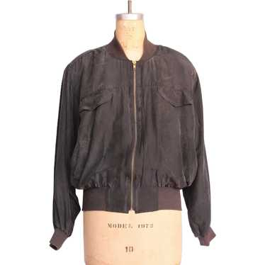 Vintage 1990s Black Silk Bomber Jacket