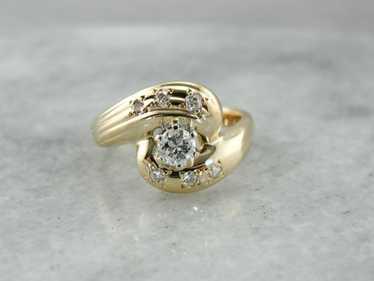 Mid Century Modern Diamond Cocktail Ring
