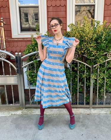 Gay Gibson 1940s Blue Lace Print Dress