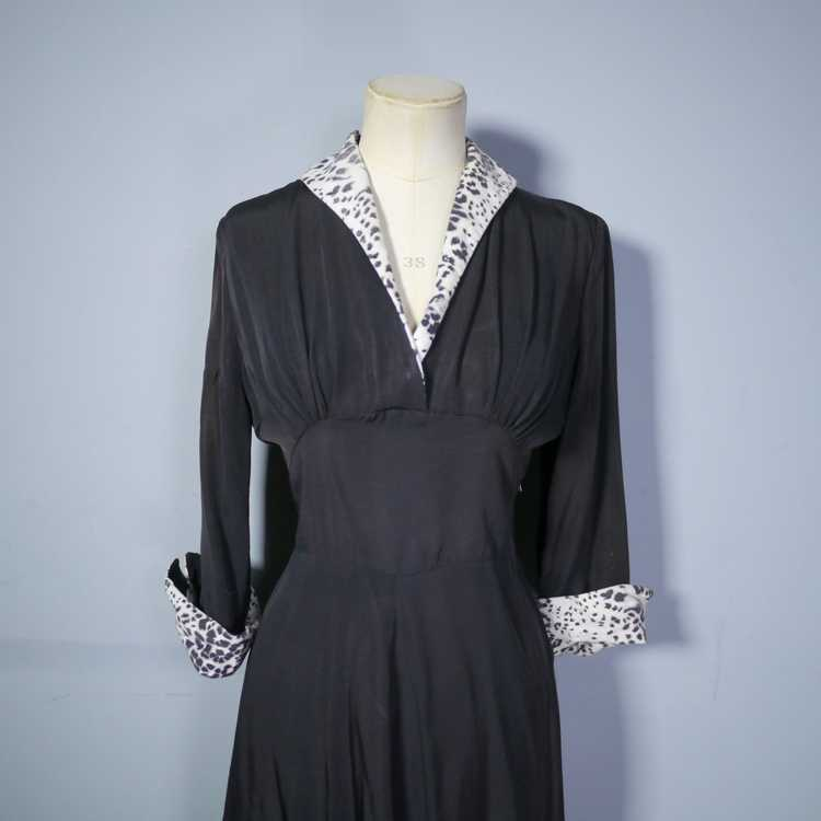 "40s 50s BLACK RAYON ""BICKLER"" DRESS WITH LEOPARD … - image 7"