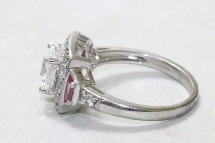 Sterling Silver Cubic Zirconia Ruby Ring - image 4