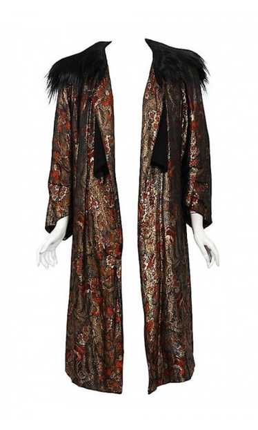 1920's Trevl Haute-Couture Metallic Feather Print