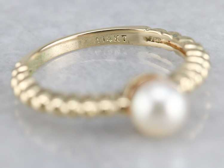 Yellow Gold Pearl Solitaire Ring - image 3