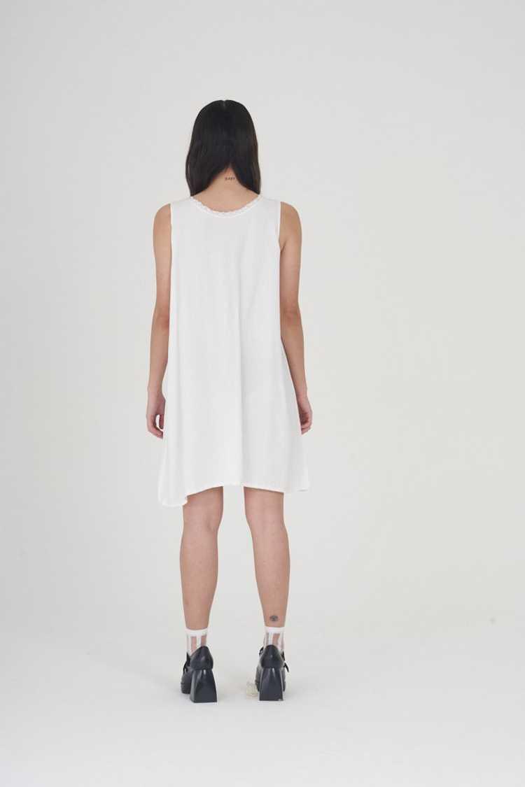Vintage 70's White Cotton Mini Dress - image 3
