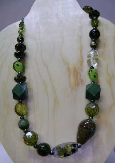 Apple and Variegated Green Beads and Crystals on Sterling Silver Leverbacks Shades of Emerald
