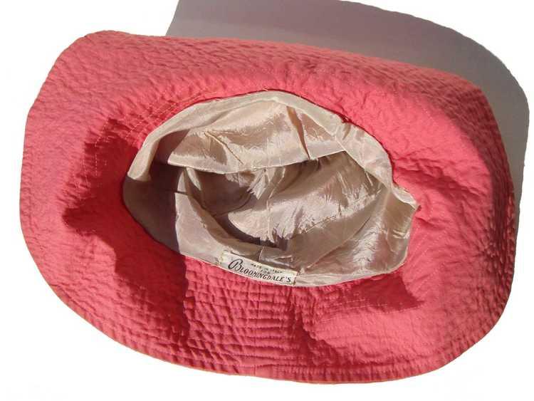 Vintage 50s Pink Beach Hat Ladies Floppy Hat - Bl… - image 6