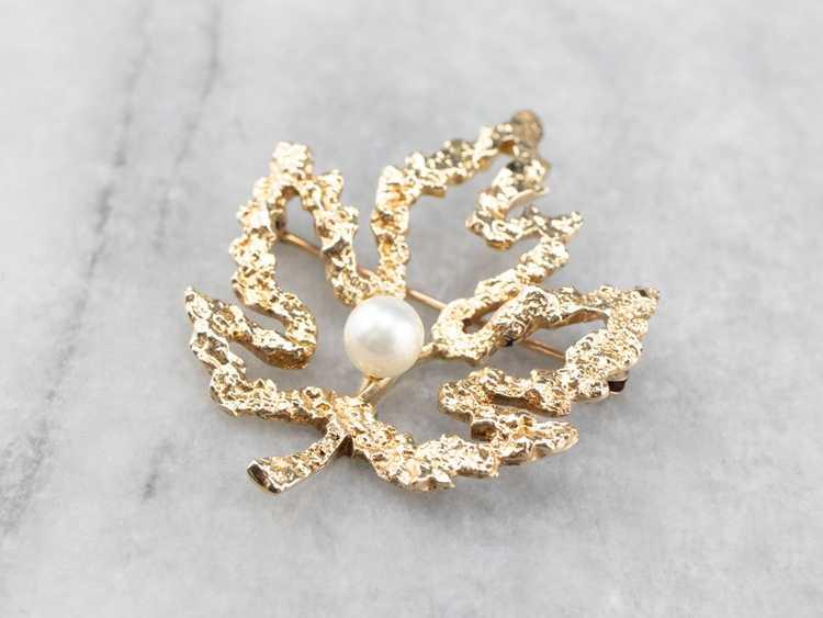 Vintage Gold and Pearl Maple Leaf Brooch - image 3